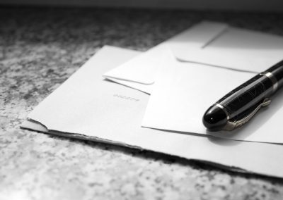 Black and white picture of stationary and pen