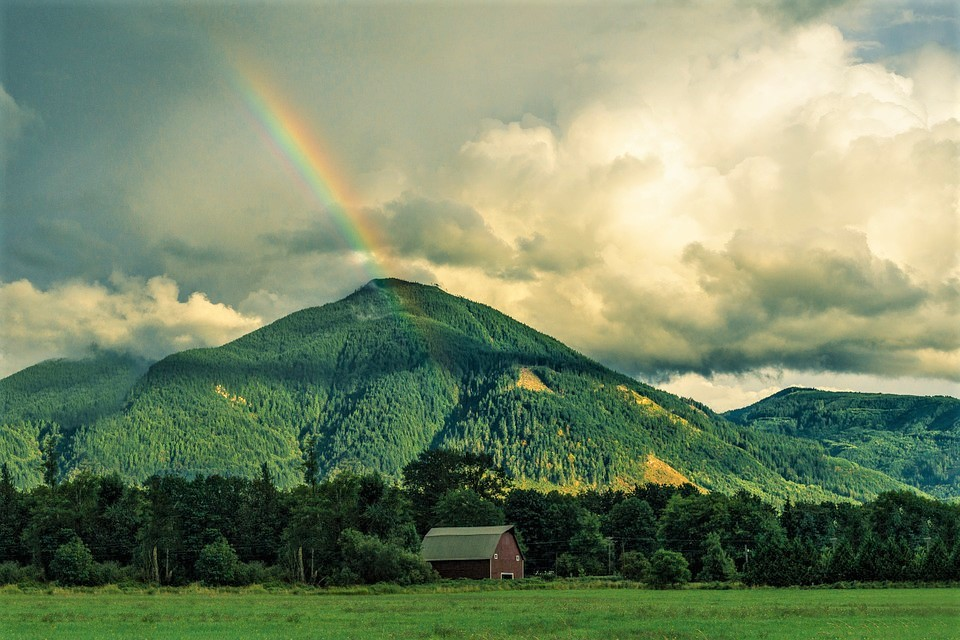 Rainbow over a hill with red barn in background among grass and trees.