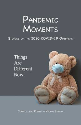 Book cover of a teddy bear with a blue surgical mask over it's nose and mouth.