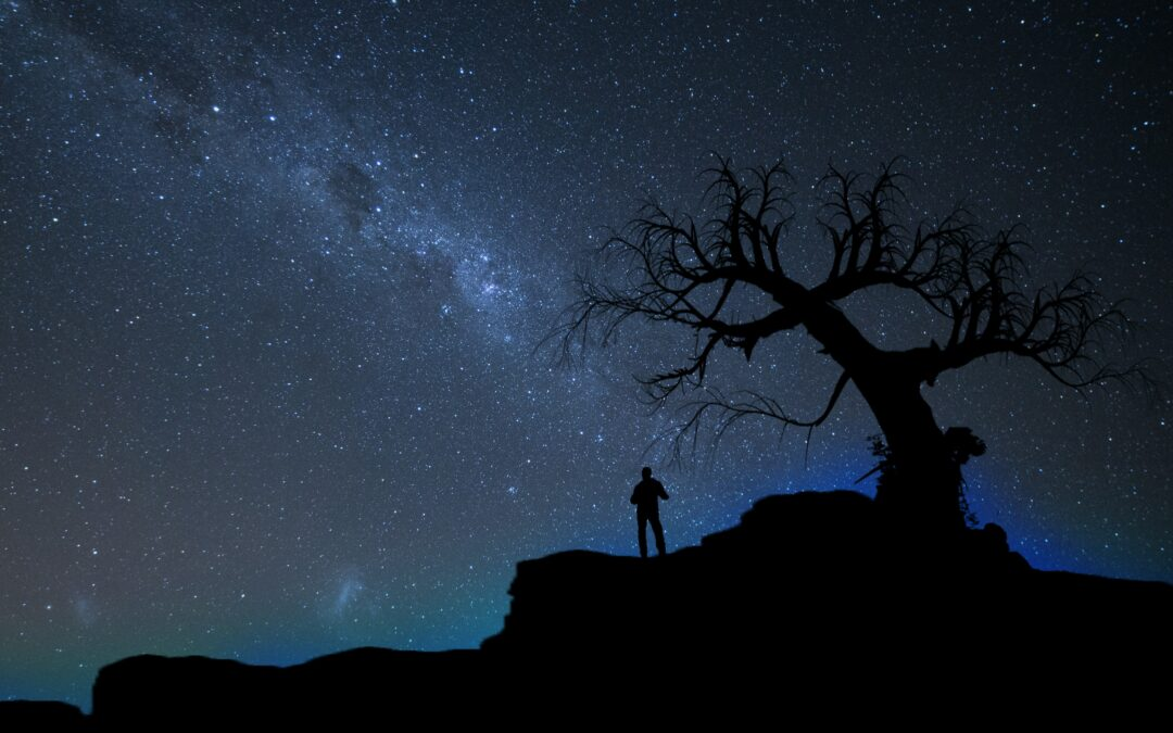 Dark sky night with stars and silhouette of a man gazing at the stars